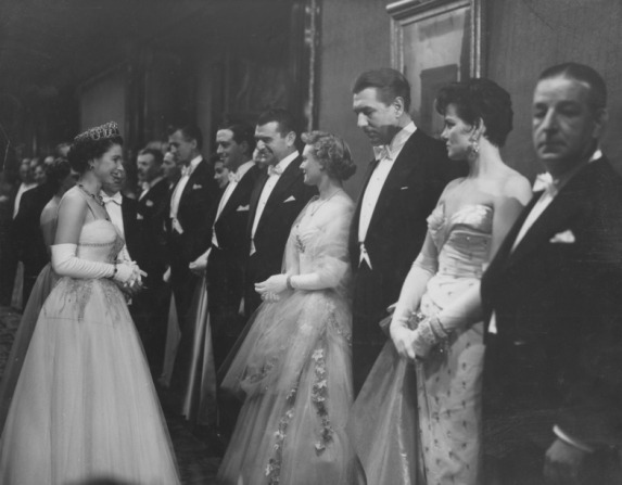 Queen of United Kingdom Elizabeth II, Ronald Shiner, Jane Russell, Michael Redgrave, Jean Simmons, Stewart Granger