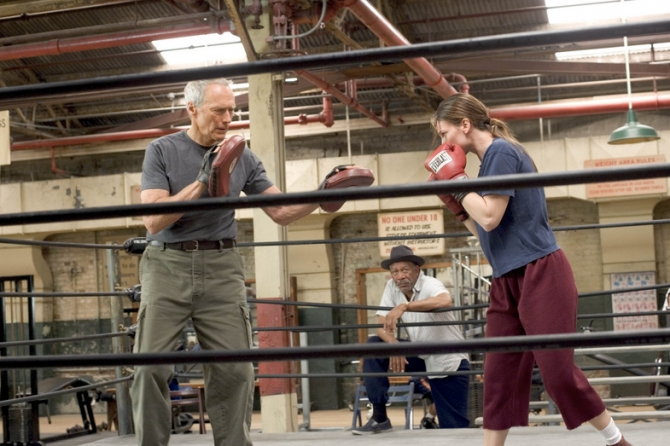 Clint Eastwood, Morgan Freeman, Hilary Swank