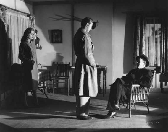 Jane Greer, Robert Mitchum, Steve Brodie