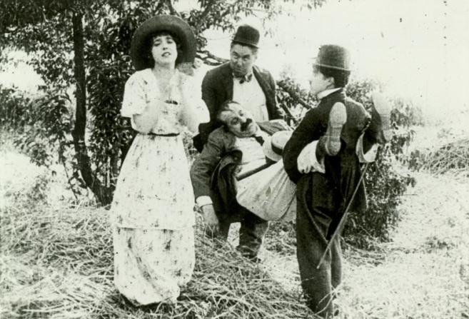 Mabel Normand, Mack Sennett, Mack Swain, Charles Chaplin