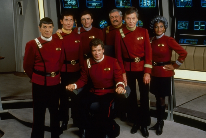 Leonard Nimoy, George Takai, Walter Koenig, William Shatner, James Doohan, DeForest Kelley, Nichelle Nichols