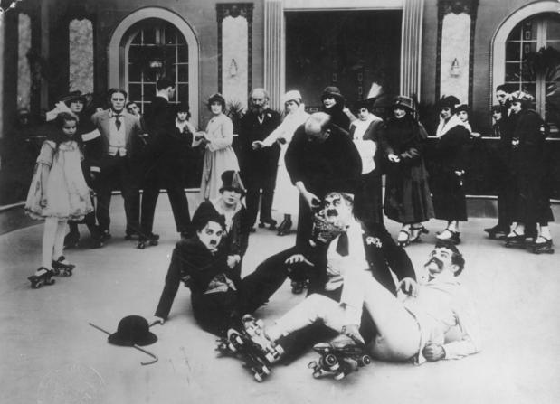 Charles Chaplin, Edna Purviance, Eric Campbell, Albert Austin