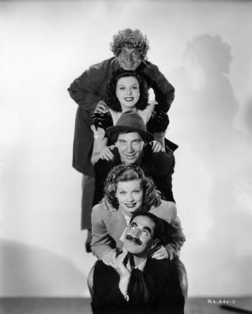 Groucho Marx, Lucille Ball, Chico Marx, Ann Miller, Harpo Marx