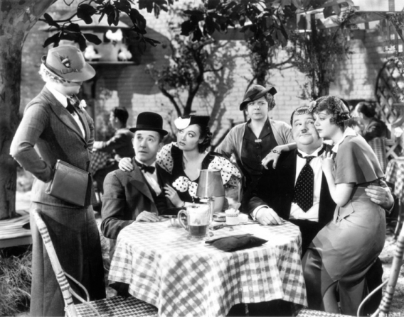 Stan Laurel, Oliver Hardy, Betty Healy, Lorna Andre, Daphne Pollard, Iris Adrian