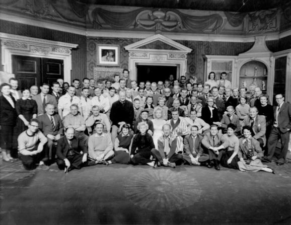 Laurence Olivier, Marilyn Monroe, Jack Cardiff, Anthony Bushell, Carmen Dillon, John Frank, Michael Dunn, Denys Coop