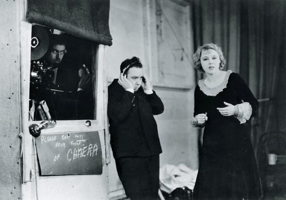 Hitchcock on set of the sound version of Blackmail