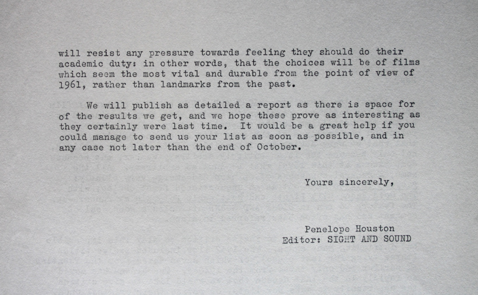 Sight and Sound poll 1962 letter
