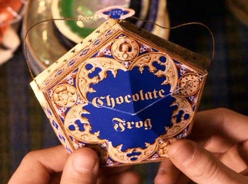 Harry's first experience of chocolate frogs in Harry Potter and the Philosopher's Stone (2001)