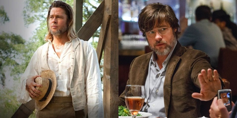 Left: as Bass in 12 Years a Slave; right: as Ben Rickert in The Big Short