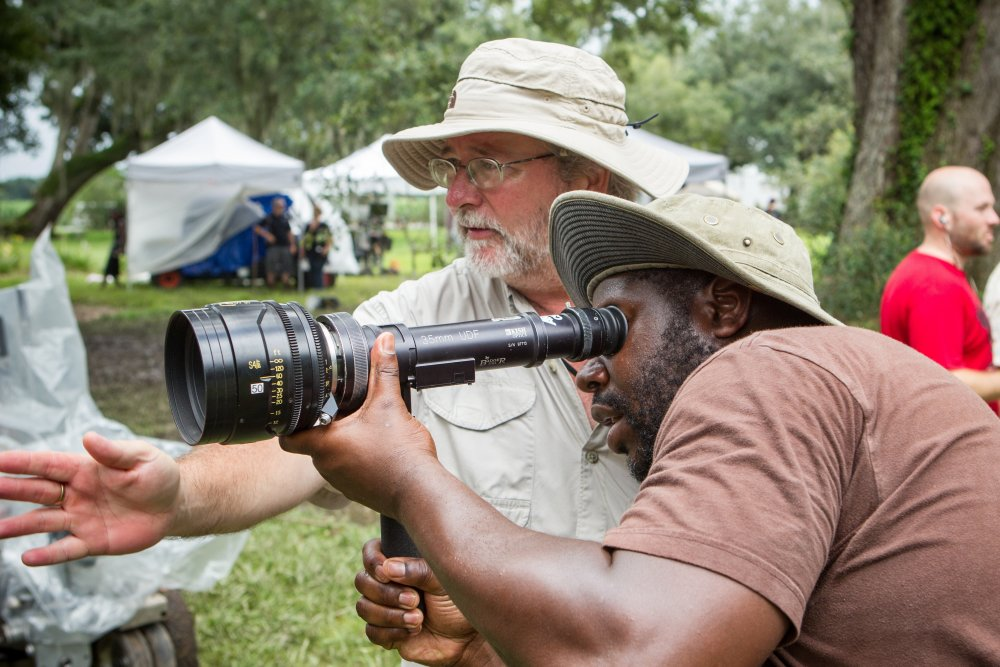 Steve McQueen with director of photography Sean Bobbitt on location for 12 Years a Slave (2013)