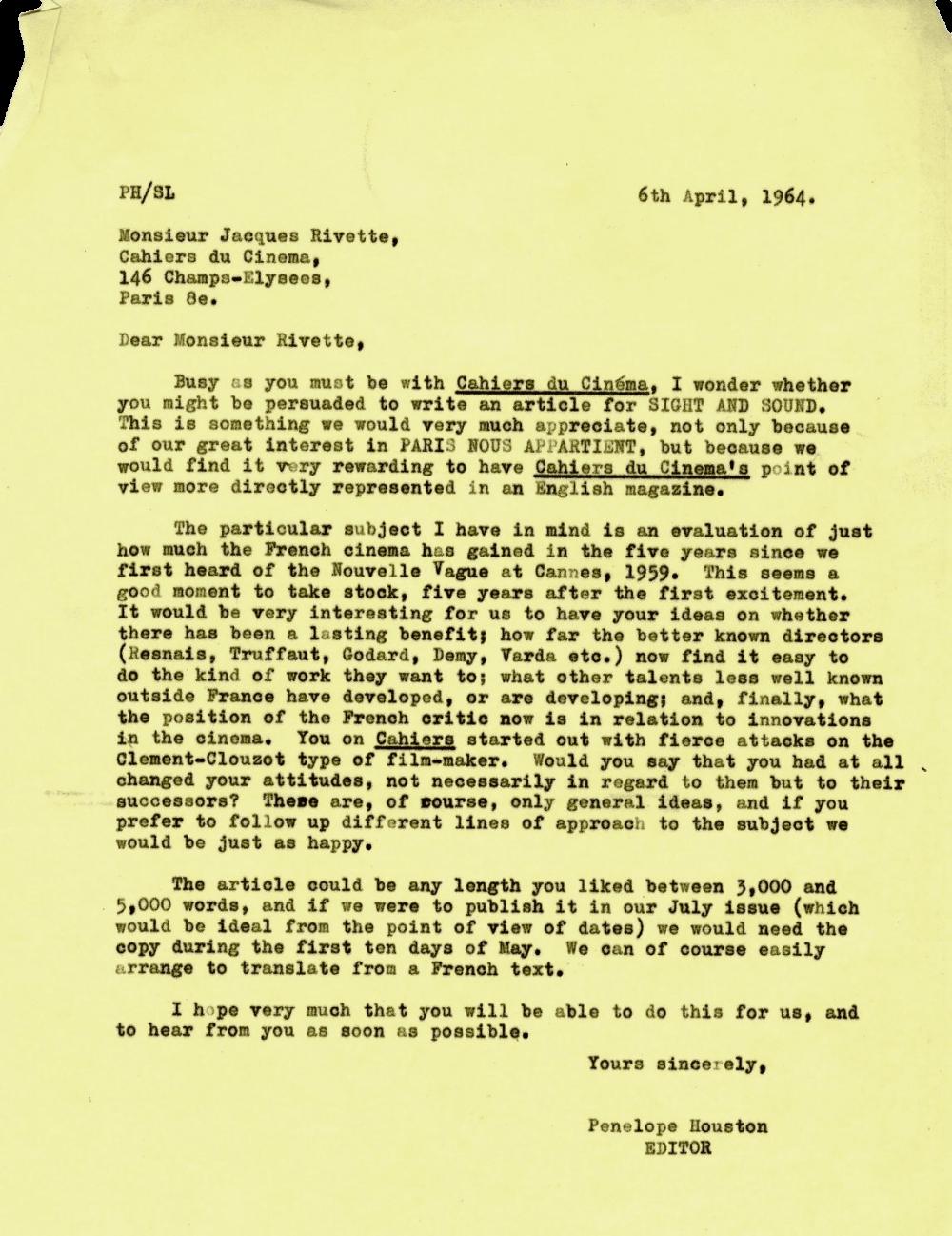 Dear Monsieur Rivette… an invitation to write for Sight