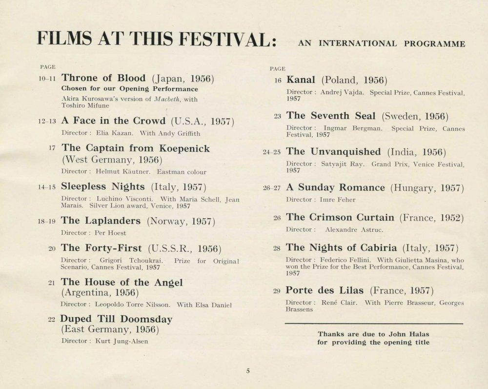 London Film Festival programme, 1957