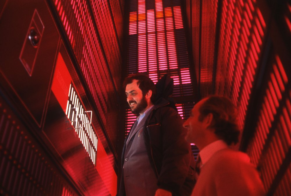 Rare behind-the-scenes shot of Stanley Kubrick during production of 2001: A Space Odyssey (1968)