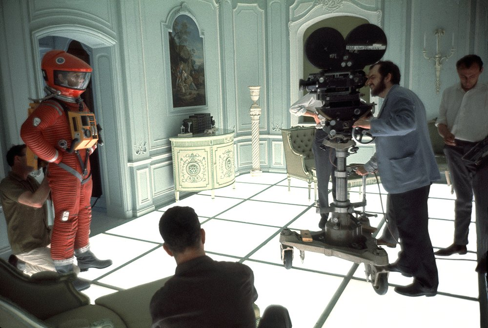Stanley Kubrick filming a scene for 2001: A Space Odyssey (1968) with Keir Dullea (left) at MGM-British Studios, Borehamwood, Hertfordshire.