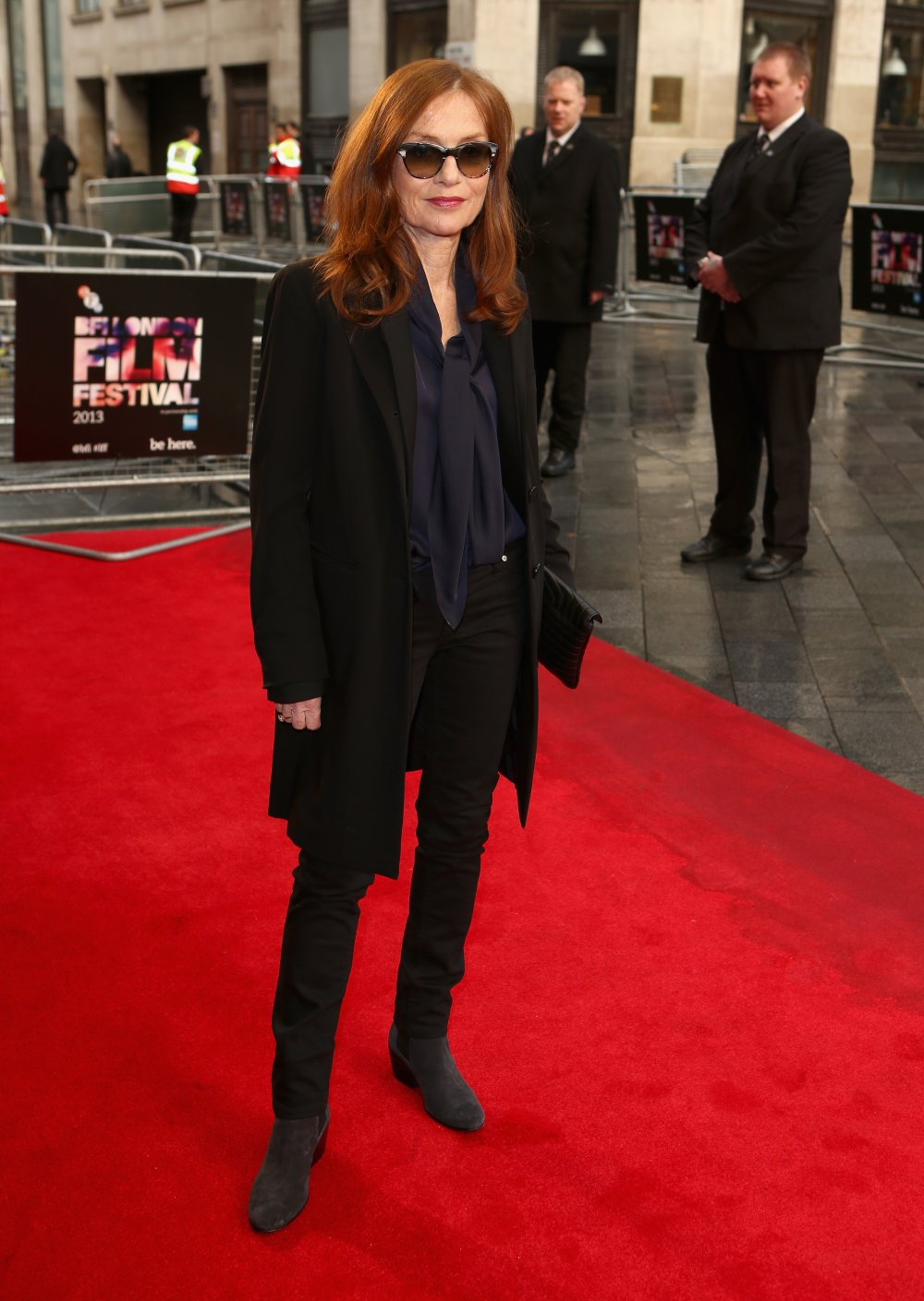 Isabelle Huppert attends a screening of Abuse of Weakness during the 57th BFI London Film Festival at Odeon West End.