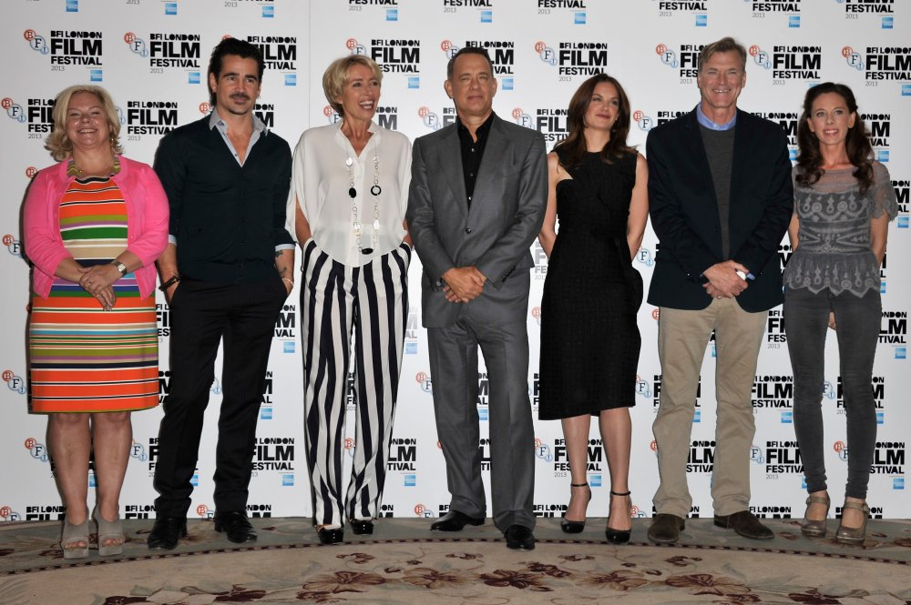 Producer Alison Owen, actors Colin Farrell, Emma Thompson, Tom Hanks, Ruth Wilson, director John Lee Hancock and screenwriter Kelly Marcel attend the photocall for Saving Mr Banks during the 57th BFI London Film Festival at The Dorchester