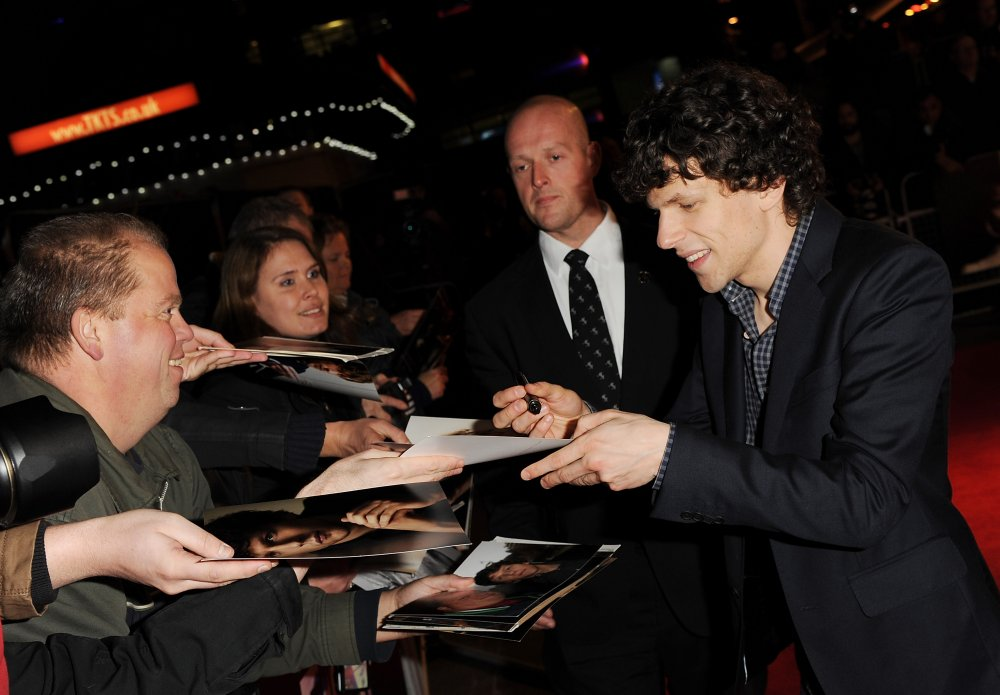 Jesse Eisenberg attends a screening of The Double (2013) during the 57th BFI London Film Festival at Odeon West End.