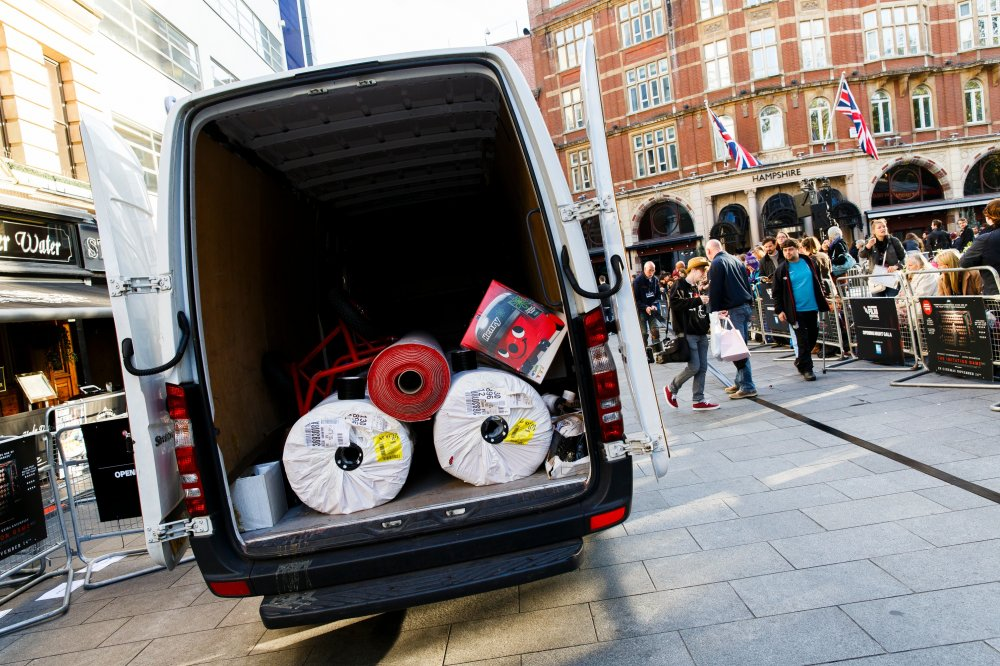 The 58th BFI London Film Festival: van with the red carpet