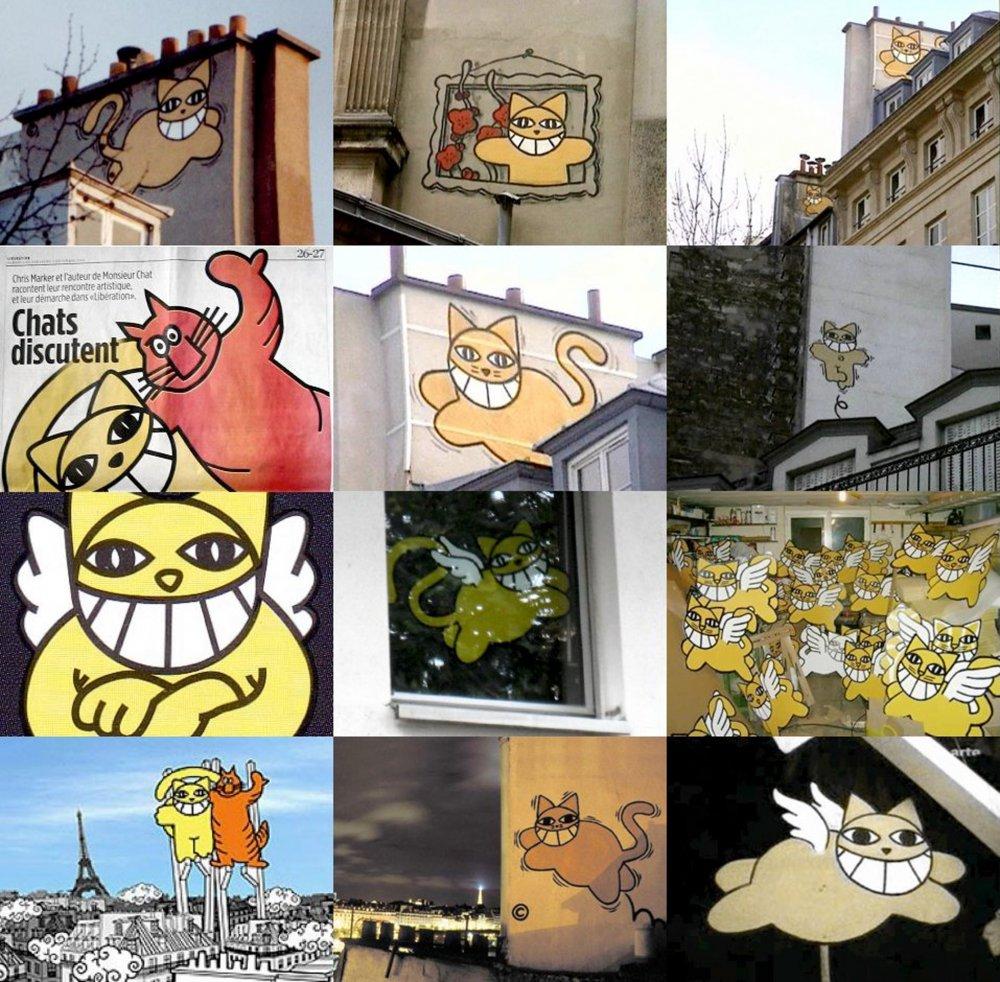 Graffiti cat tributes to Chris Marker
