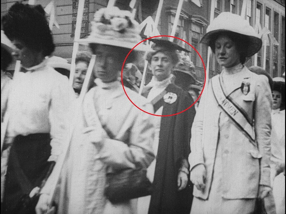 Suffragette Emily Davison at a 1910 demonstration, discovered in the BFI Player film Scenes in the Record Demonstration of Suffragettes