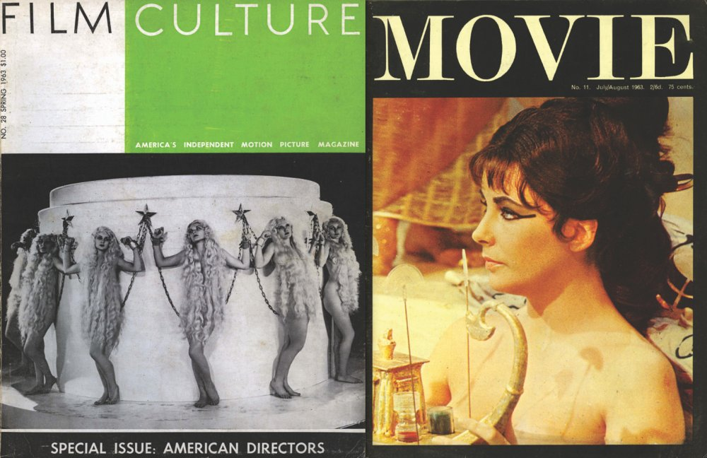 From right: Andrew Sarris's 1963 special 'American Directors' issue of Film Culture; the Cleopatra cover of the July-August 1963 Movie