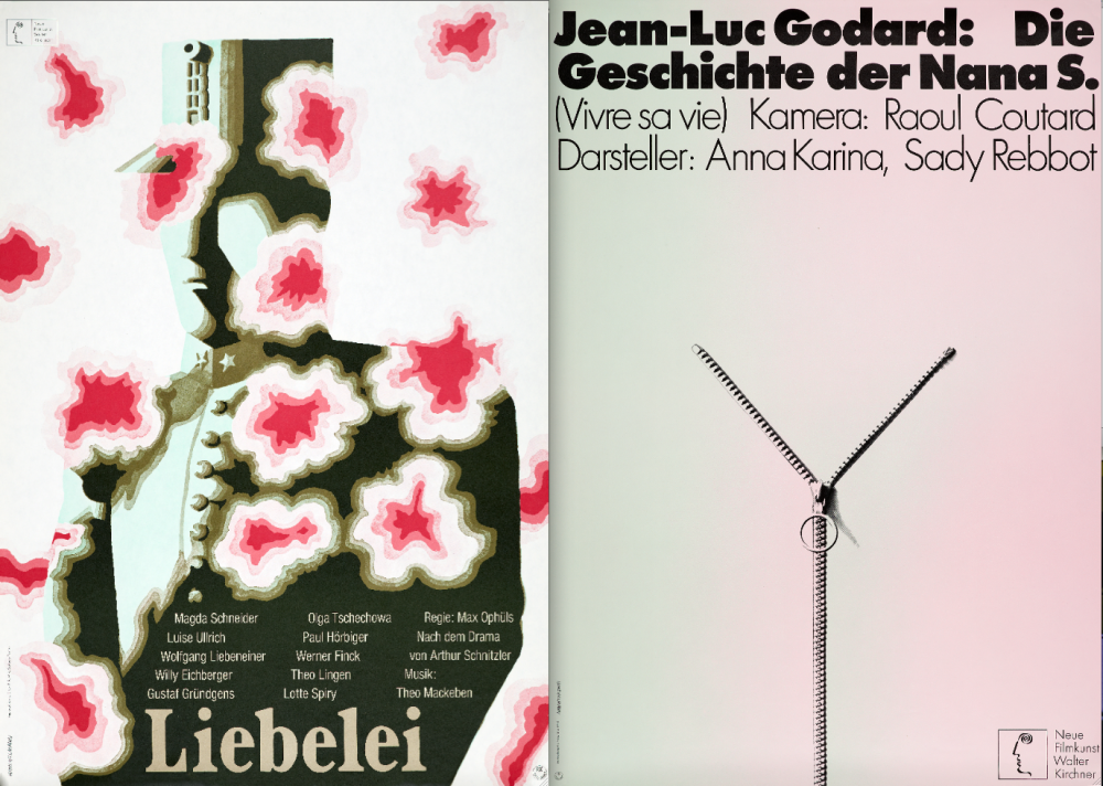 Posters for Max Ophül's Leibelei (left) and Godard's Vivre sa vie (right)
