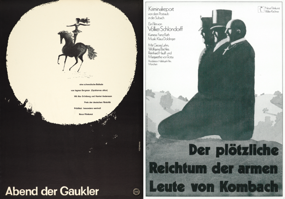 Hillmann's posters for Ingmar Bergman's Sawdust and Tinsel (left) and Schlöndorff's The Sudden Wealth of the Poor People of Kombach (right)