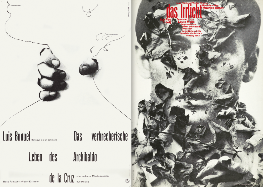Hillmann's posters for Luis Buñuel's The Criminal Life of Archibaldo de la Cruz (left) and Louis Malle's Le Feu follet (right)