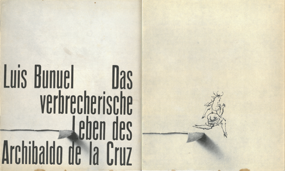 Hillmann's design for the cover (left) and inside cover (right) of the programme for Luis Buñuel's The Criminal Life of Archibaldo de la Cruz