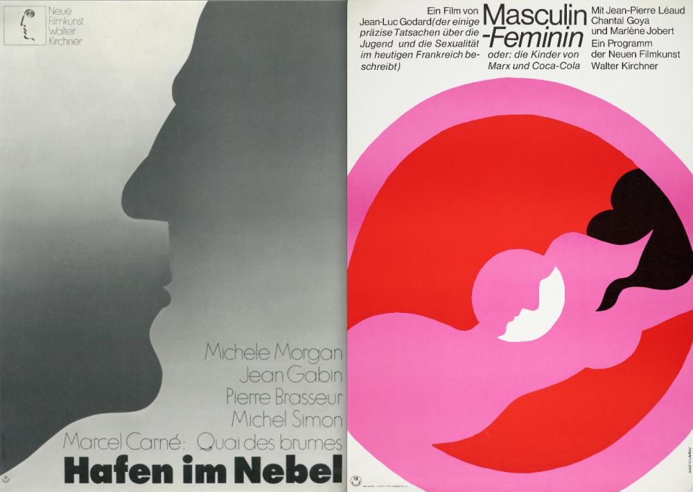 Hillmann's posters for Marcel Carné's Le Quai des brumes and Jean-Luc Godard's Masculin Féminin