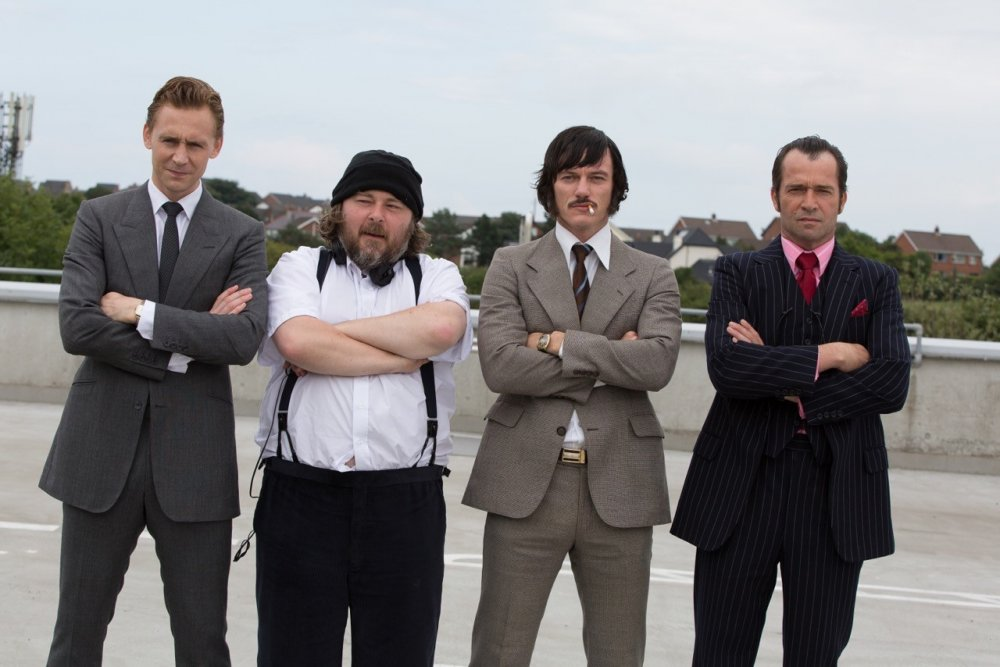 Tom Hiddleston, Ben Wheatley, Luke Evans and James Purefoy on location in a disused leisure centre in Belfast