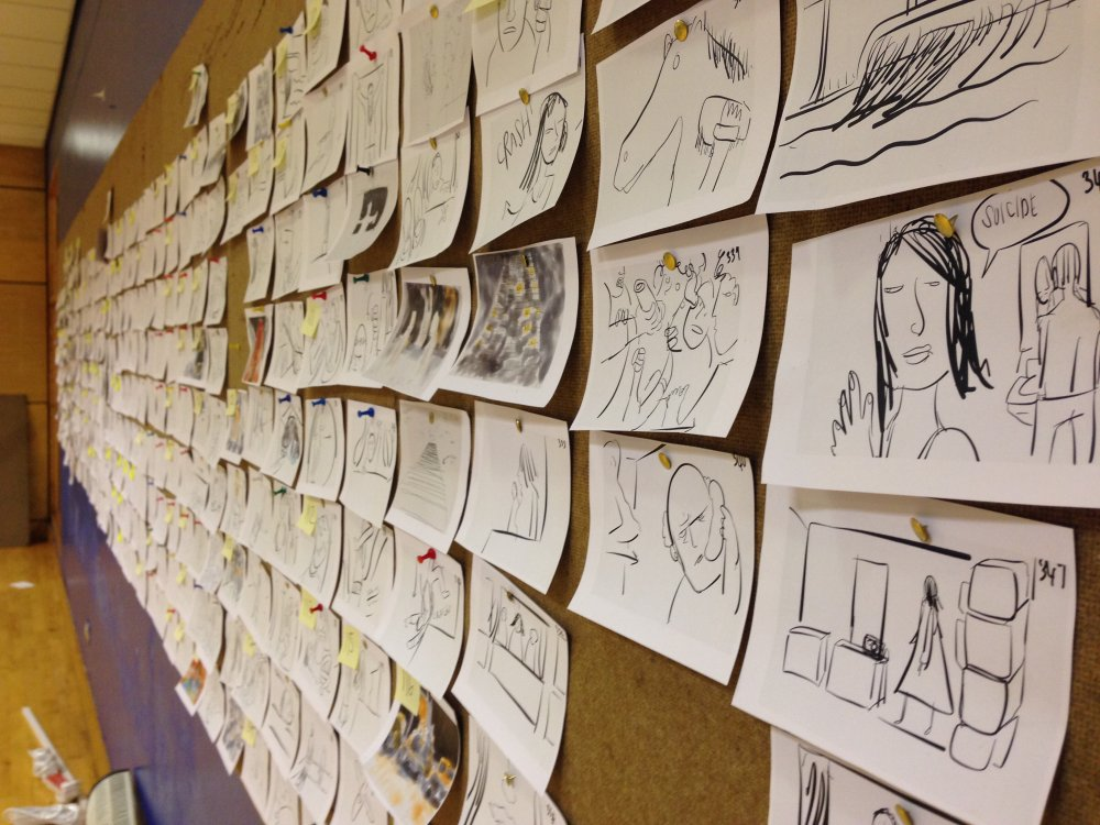 High-Rise storyboards pinned to the wall of Ben Wheatley's office