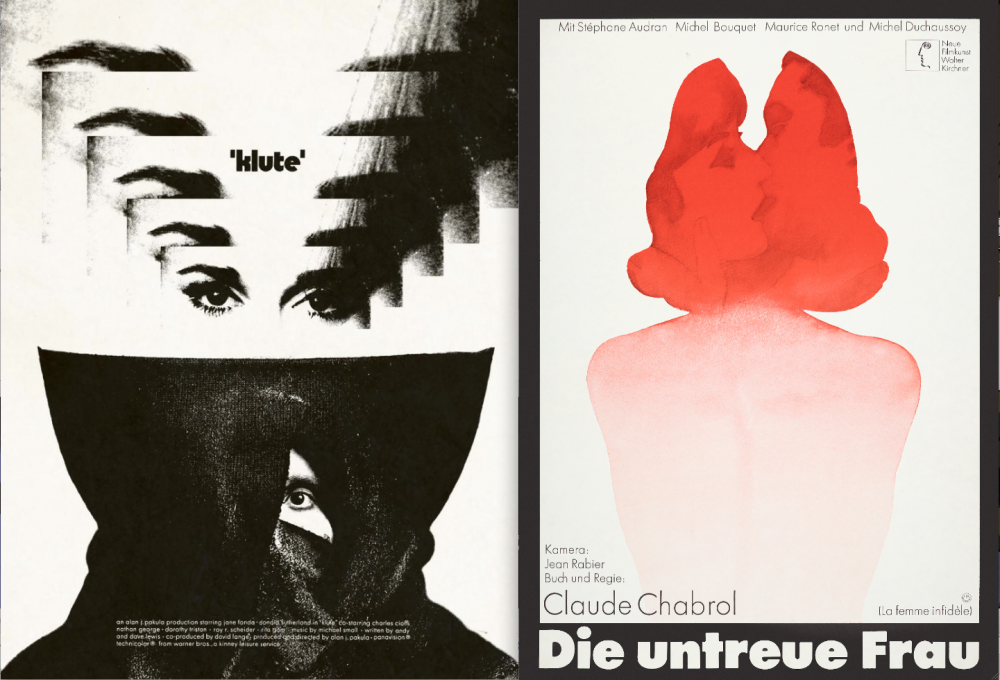 Jay Shaw's contemporary poster for Alan J. Pakula's 1971 thriller Klute (left) and Hans Hillmann's design for Claude Chabrol's The Unfaithful Wife