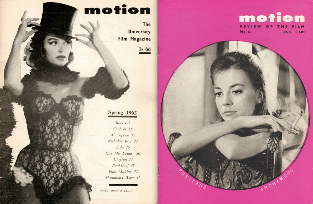 Two covers of Motion, a film magazine produced on shoestring budget and where Durgnat championed directors like Michael Powell