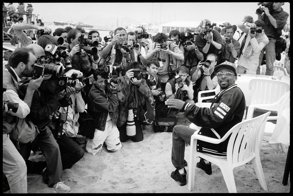 In 1991, Spike Lee holds court on the beach.