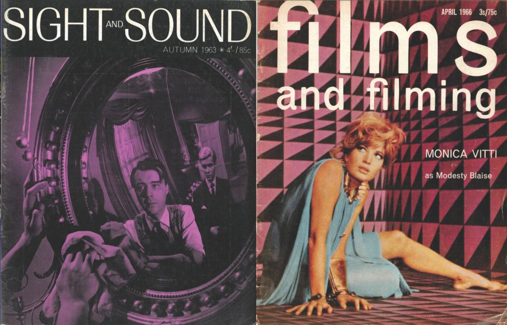"""Durgnat wrote for the 'slightly shambolic and somewhat sleazy' Films and Filming (right), but fell out with Sight <span class=""""amp"""">&</span> Sound (left, with Joseph Losey's The Servant on the cover) over its traditionalism"""