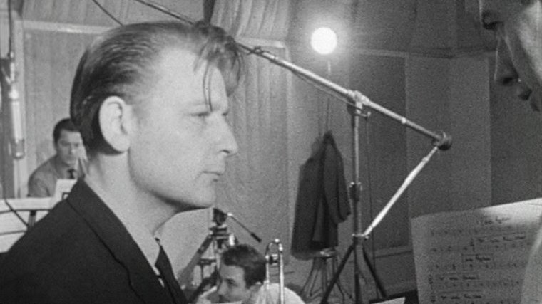 Jazz pianist and composer Stan Tracey at the recording of Alice in Jazzland