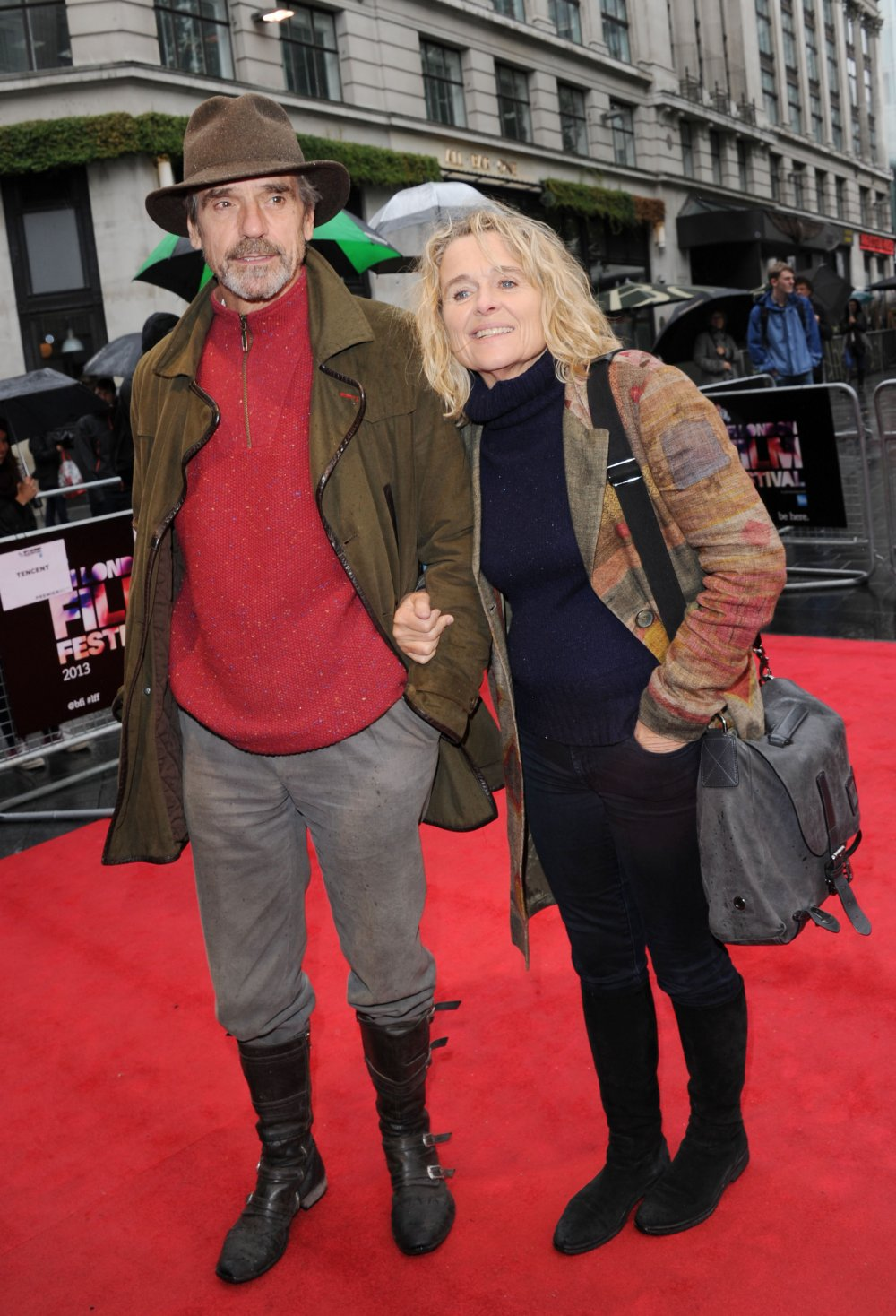 Jeremy Irons and Sinéad Cusack attend a screening of The Last Impresario (2013) at the 57th BFI London Film Festival at Odeon West End.