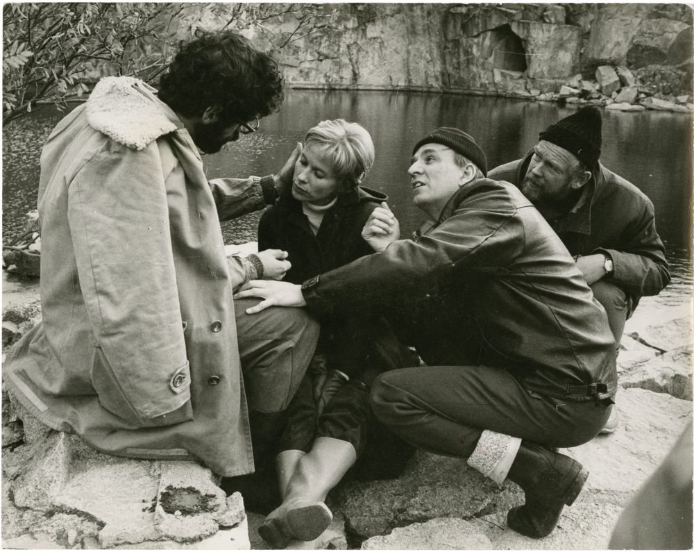 Ingmar Bergman (second from right) on location for The Touch