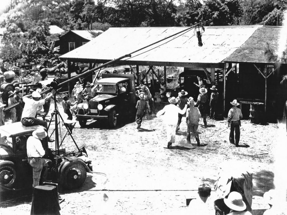 Lois Weber (bottom right) filming her 1934 film White Heat