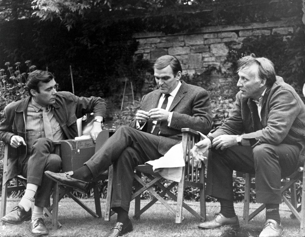 Dirk Bogarde, Stanley Baker and Joseph Losey on location for Accident (1967)