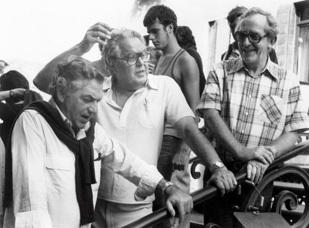 Left to right: Adam, producer Albert Broccoli and director Lewis Gilbert on the set of Moonraker