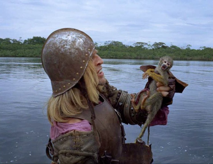 Klaus Kinski with one of the monkeys that overtake the raft in Aguirre, Wrath of God (1972)