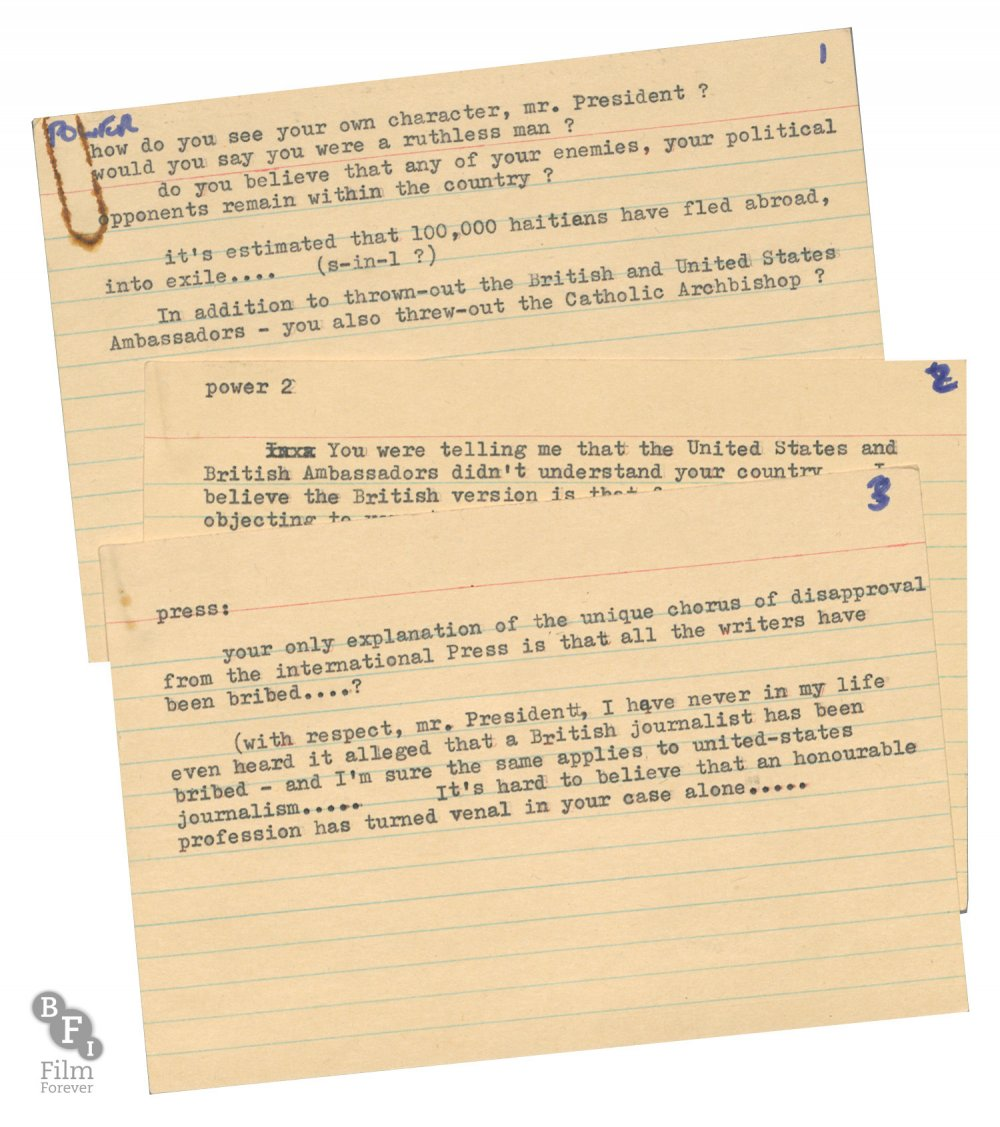 Question cards and notes for Papa Doc: The Black Sheep, 1969