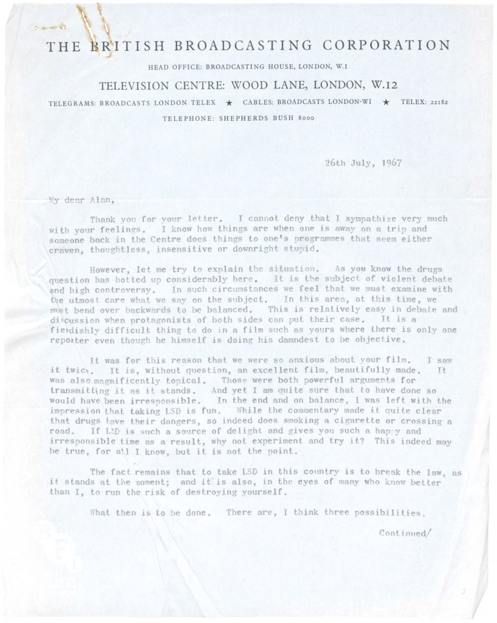 Letter from David Attenborough to Alan Whicker regarding Love Generation, 26 July 1967