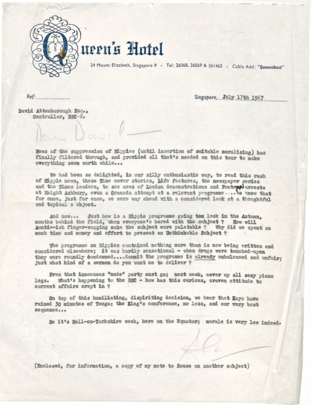 Letter From Alan Whicker To Bbc, 7 July 1967