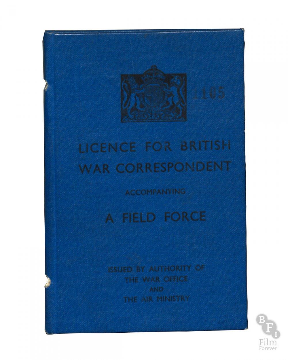 Alan Whicker's British War Correspondent license