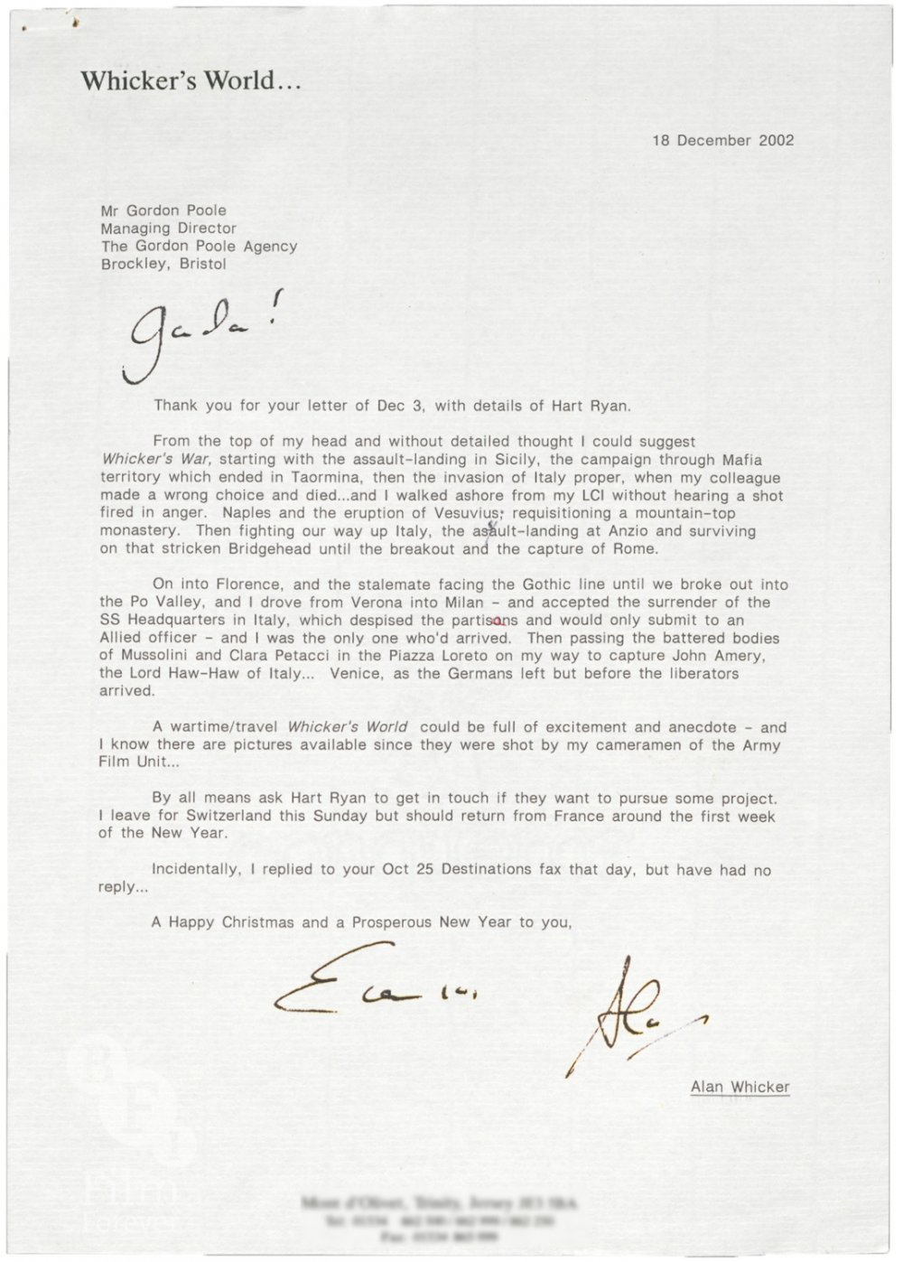 Letter from Alan Whicker to Gordon Poole regarding Whicker's War (2004), 18 December 2002
