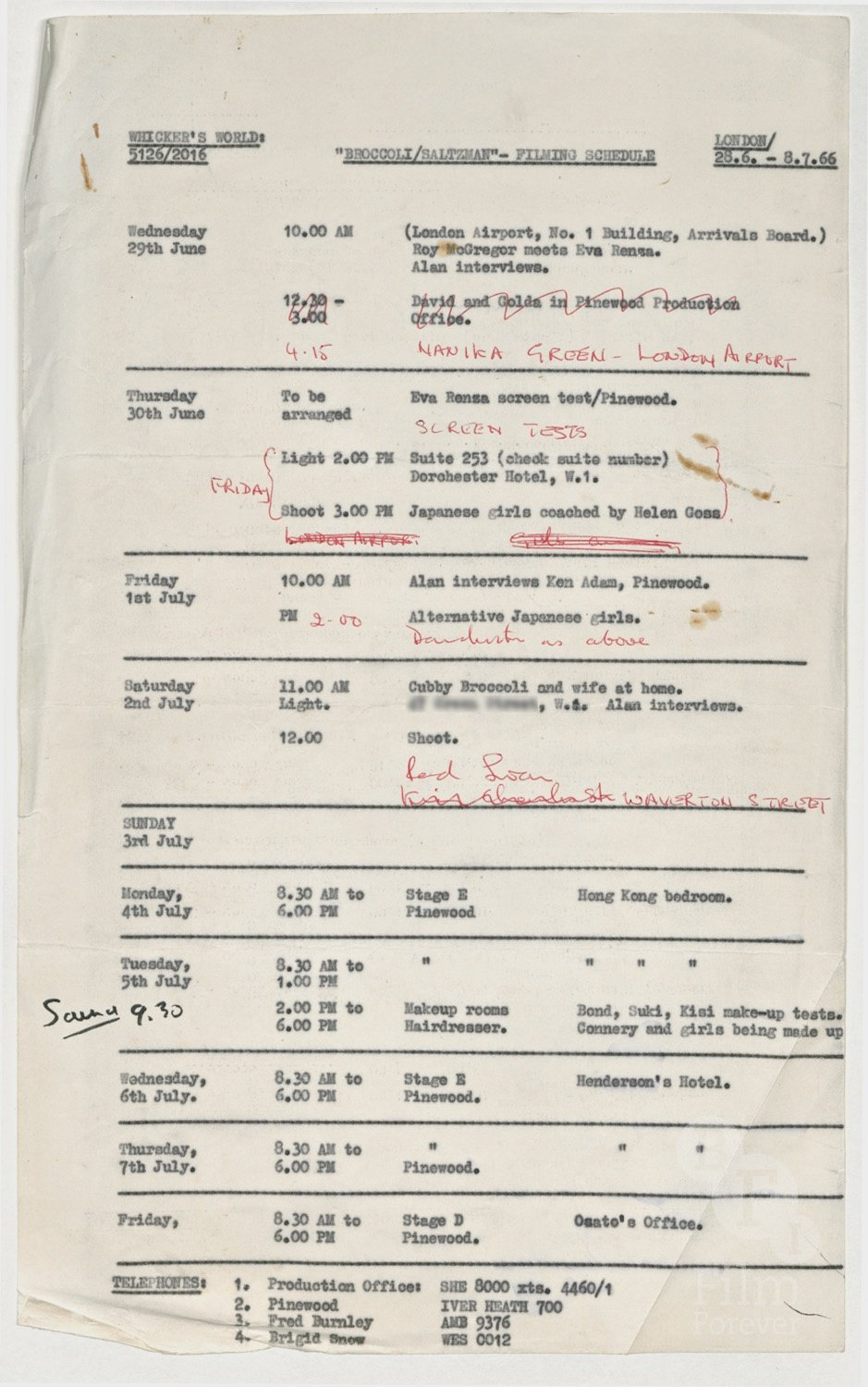 Shooting schedule for interviews with Harry Saltzman and Albert 'Cubby' Broccoli The World of James Bond, 1967