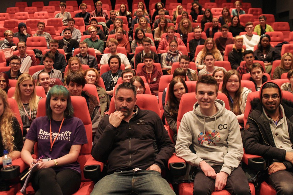 Alex Garland with BFI Film Academy students at the craft skills residential course 2016